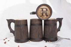 Set of 4 Wooden Beer Mugs, Custom Beer Mugs, Personalized Mugs, Groomsman Beer Mug, Wedding Party Favor, Wood Tankards, Custom Wedding Gift