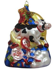 Cow Jumped Over the Moon Christmas Ornament Baby Gifts For Dad, Hey Diddle Diddle, Jump Over, Kids Nursery Rhymes, Over The Moon, Snow Globes, Cow, Christmas Ornaments, Keepsakes