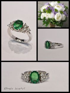 White gold ring with diamonds and emerald Sortija de oro blanco con diamantes y esmeralda White Gold Rings, Emerald, Gemstone Rings, Gemstones, Diamond, Jewelry, White Gold, Jewelry Box, Diamonds