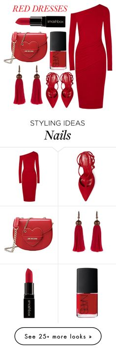 """""""When in doubt, wear RED"""" by gold-candle23 on Polyvore featuring Donna Karan, Jean-Michel Cazabat, NARS Cosmetics, Smashbox, Love Moschino, Lanvin, women's clothing, women, female and woman"""