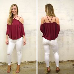 You definitely need this burgundy, strappy, cold shoulder! - $37 #springfashion #spring  #fashionista #shoplocal #aldm #apricotlaneboutique #apricotlanedesmoines #shopaldm #desmoines #valleywestmall #fashion #apricotlane #newarrival  #shopalb  #ootd #westdesmoines  #shopapricotlaneboutiquedesmoines #ontrend