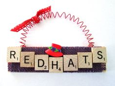 Red Hat Ornament by ScrabbleTileOrnament on Etsy,