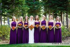 Purple bridesmaid dresses from the Ritz Carlton.