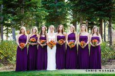 Purple bridesmaid dresses from the Ritz Carlton.
