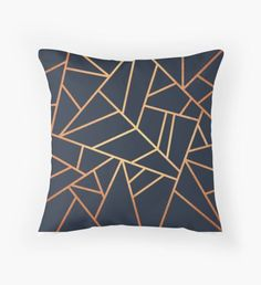 Copper and Midnight Navy' Art Print by Elisabeth Fredriksson is part of Navy Living Room Copper - Also buy this artwork on wall prints, apparel, phone cases, and Geometric Patterns, Textures Patterns, Geometric Lines, Abstract Lines, Geometric Designs, Navy And Copper, Blue Gold, Gold Gold, Metallic Gold