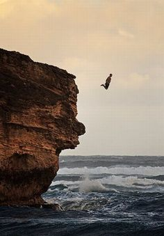 life pauses and you can almost feel the exhilaration of this cliff jumper, shot by eyebex (via Action Sports Photography) 1000 Awesome Things, Trekking, Sports Action Photography, Kayak, All Nature, The Great Outdoors, Wonders Of The World, Places To Go, Surfing