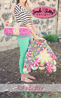 Oh Baby Pattern: Car Seat Cover and Diaper Bag. $12.00, via Etsy.