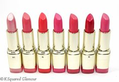 Milani Color Statement Lipsticks in (L-R) Pink Frost, Fruit Punch, Flamingo Rose, Rose Hip, Hot Pink Rage, Flirty Fuchsia & Rose Amour