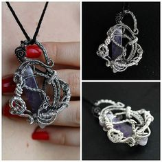 Silver wire with amethyst gemstone made as a gift for a special friend _ Amethyst Pendant, Amethyst Gemstone, Lsd Art, Wire Jewellery, Jewelry, Art Work, Crochet Necklace, Workshop, Gemstones