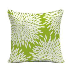 For a touchable print with modern style, try this bright and happy throw pillow. Soft-looking blossoms fill up the pillow in creamy white against a sweet spring green background for a pop of pattern.  Find the Spring Mums Throw Pillow, as seen in the Caribbean Cool Bedroom Collection at http://dotandbo.com/collections/caribbean-cool-bedroom?utm_source=pinterest&utm_medium=organic&db_sku=89079