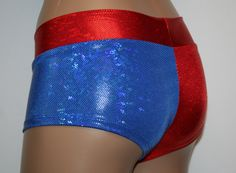 Harley Quinn Inspired Booty Shorts Suicide Squad Red and Blue Hologram   NEW ITEM!  Roller Derby Rave Festival Cosplay Costume Dance EDC