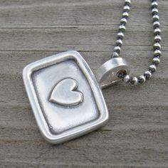 Tiny Framed Heart Pendant Necklace PMC Artisan by westbyron, $42.00