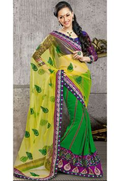 Yellow And Green Color Heavy Work Designer Party Wear Heavy Work Lehenga Saree.