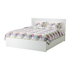 "MALM high bed frame/4 storage boxes, white Length: 83 1/8 "" Width: 66 1/8 "" Footboard height: 15 "" Length: 211 cm Width: 168 cm Footboard height: 38 cm"