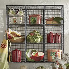 Wire Wall Unit   Made of heavy-duty wire with a durable black finish and silvertone accents, this 9-cubby storage system is both sturdy and stylish. www.countrydoor.com