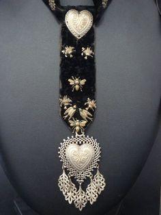 Rare ancien collier ruban folklore Breton coeur pendentif mariage XIXeme e4dfb5a81d0
