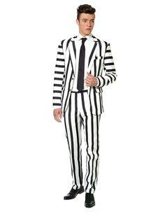 Abito classico da uomo Mr. Striped bianco e nero Suitmeister™ fcae98c867e