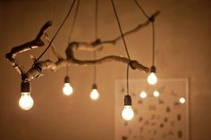 Natural Tree Branch And String Light Chandelier is part of Wood diy - Perfect tree branch chandelier for your modern farmhouse lighting, living room, rustic, simple with nice light bulbs! Bulb, Chandelier Lighting, Lights, Wood Diy, Light, Chandelier, Wooden Decor, Branch Chandelier, Diy Lighting