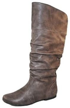 Qupid Women's Neo144 Leatherette Basic Slouchy Knee High Flat Boot -- Check this awesome product by going to the link at the image.