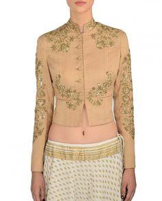 Printed Ivory Lengha with Jacket Blouse - Anju Modi - Designers