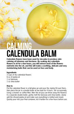 If you are into DIY skin care, making your own calendula healing salve is a staple. We came up with the best recipe to make your healing salve a success. Homemade Skin Care, Diy Skin Care, Homemade Beauty, Diy Beauty, Beauty Hacks, Homemade Cosmetics, Soap Recipes, Natural Cosmetics, Perfume