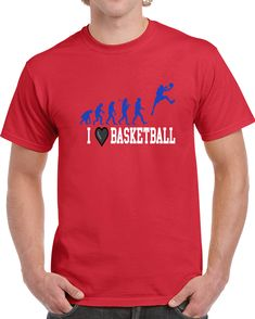 I Love Basketball  T Shirt I Love Basketball, Gifts For Friends, Shirt Style, My Love, Sports, Mens Tops, How To Make, Cotton, T Shirt
