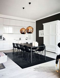 black and copper dining room