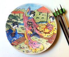 Veeeee bitti 😊  Fırınlanma öncesi boyası biten çini tabağım...  #çini #drawing #chinaware #art #majolica #ceramicsart #pottery #craft #handmade #diy #ceramics #coloring #ink #tattoo #Japanese #geisha #painting #sanat #karakalem #watercolor #dailyart #decoration #interiordesign #handcraft #seramik #diy