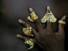 Africa | Collection of rings from the Ashanti peoples of Ghana | Gold, usually below 14k | These rings would have been made and worn by members of the Ashanti royal family and entourage | ca. 1950s/60s.  LINDO !