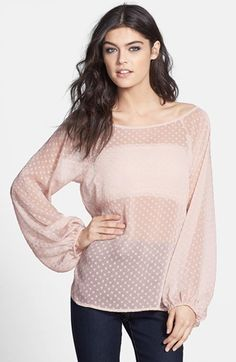 Wayf Dot Peasant Top available at #Nordstrom No to cheap and unfinished looking things!