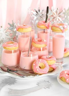 Pink Champagne Panna Cotta and Donut Shots | Sprinkle Bakes