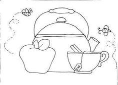 Tea kettle colouring sheet