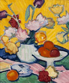 University of Glasgow :: Collections :: Collection Summaries :: Art :: The Scottish Colourists Samuel John Peploe, Tulips in a Pottery Vase, c.1912