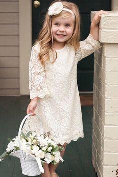 ivory lace flower girl dress #flowergirl #flowergirldress #weddinginspiration