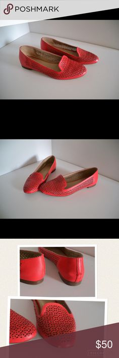 "J. Crew 'Cleo' loafers J. Crew 'Cleo' perforated loafers. Made in Italy. Leather upper & soles. Size 7 1/2. Heels 1/4"". Reddish pink color. Minor Wear to soles (pic) & tiny scratch on left front toe (pic). These are in excellent and beautiful condition still! J. Crew Shoes Flats & Loafers"