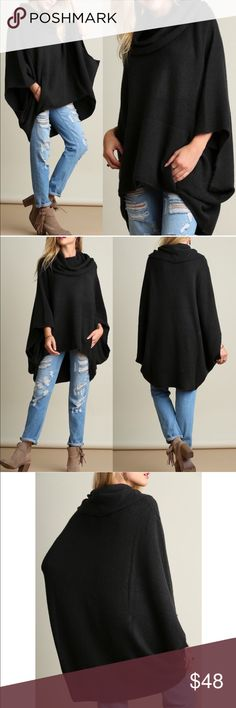 KAYCEE poncho style sweater - DARK CHARCOAL Super fun & comfy cowl neck sweater. So chic!   AVAILABLE IN OATMEAL AND DARK CHARCOAL (pic looks black but actually deep charcoal shade) 60% cotton,40% spandex   NO TRADE, PRICE FIRM bellanblue Sweaters Shrugs & Ponchos
