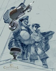 treasure planet concept art   Using a Pre Production sketch to place the Arm and Leg for the Comp ...