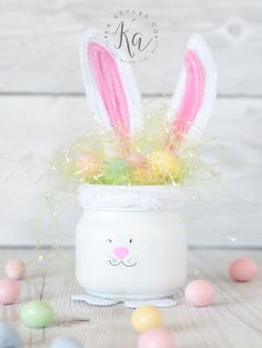 Easter mason jar time! 🙂 Bunnies and baby chick half pint mason jars! I made these for the nieces and nephews! Many of the jars I make now a days are gifts. Or I try to find new ways to do jars for them just to share with you. They get the 'test' jars from...