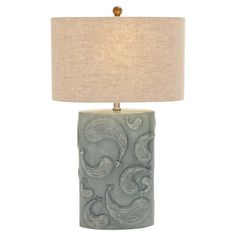 Add artful appeal to your entryway console table or living room mantel with this chic table lamp, showcasing a paisley-inspired ceramic base for eye-catching...