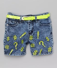 Acid Blue & Lime Punch Belted Midi Shorts - Girls