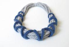 Fiber necklace / Light grey and blue knit от AliquidTextileJewels