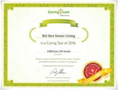Bel Aire Senior Living recieved the Caring-Star-2016-Award check out what it means and how it is a great honor!  #caringstaraward #award #assistedliving