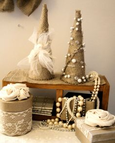 burlap christmas crafts pinterest | Burlap Shabby Chic Christmas Tree 9 inch by ... | Craft - Burlap Proj ...