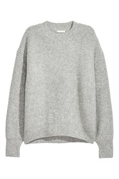 Gray. Wide-cut sweater in a soft, rib knit with wool content. Low dropped shoulders, long sleeves, and ribbing at neckline, cuffs, and hem.