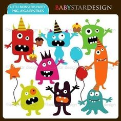 Little Monsters Party Clipart INSTANT DOWNLOAD by babystardesign, $5.00