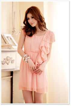 Korean Fashion Chiffon Dresses D4395 Pink - Wholesale Dresses - ☆Spring and Summer Clothes