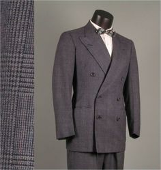 Vintage 1940s Mens Suit Double Breasted Windowpane size 42L ...