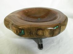 Mesquite Bowl with Turquoise Inlay and Recycled by XXRanchArt, $95.00