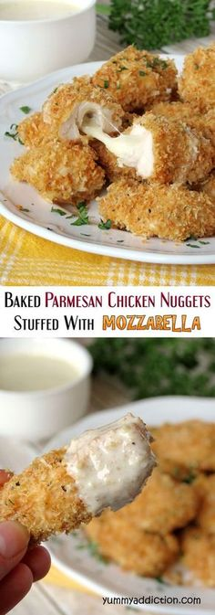 Crispy Baked Parmesan Chicken Nuggets Stuffed With Mozzarella! How much would the kids (ok and adults too) love these??