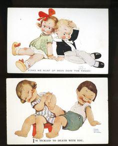 Set of 2 Charming Mabel Lucie Attwell Postcards Children   eBay